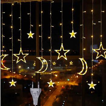 Гірлянда штора зірки і місяць з пультом