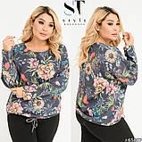 Женская кофта блузка трикотаж длинный рукав размер: 50-52, 54-56, 58-60, фото 4