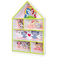 Домик-полка PLK детский шкафчик стеллаж домик для кукол, игрушек, книг для девочки белый - розовый Единорог