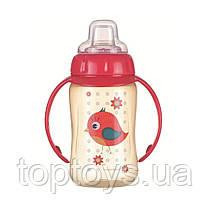 Кружка тренувальна з силіконовим носиком - Cute Animals пташка (56/512_red)