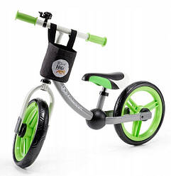 Детский беговел 2 WAY Next Kinderkraft с корзиной green-gray