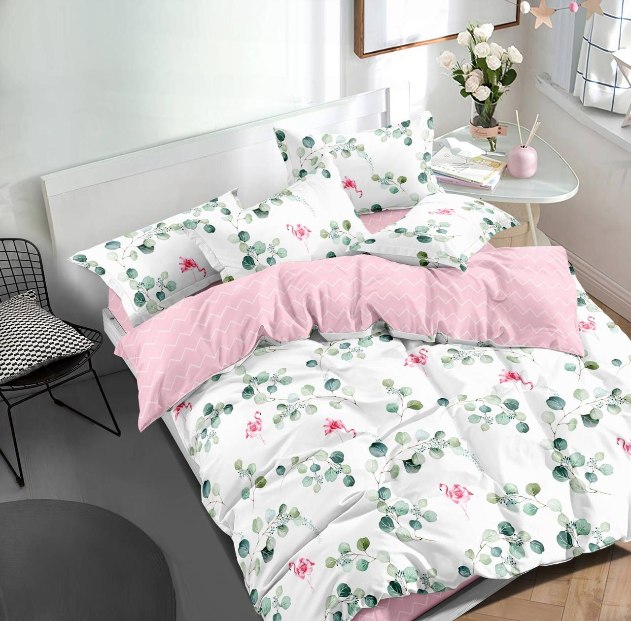 Двуспальный комплект постельного белья евро 200*220 сатин (15756) TM КРИСПОЛ Украина