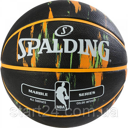 М'яч баскетбольний Spalding NBA Marble Outdoor Black/Orange/Green Size 7, фото 2
