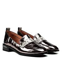 Туфлі жіночі шкіряні бронзові на зручному каблуку 37