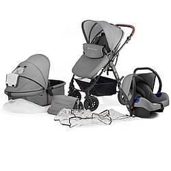 Универсальная детская коляска с автокреслом Kinderkraft Moov 3 в 1 grey