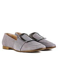 Туфлі жіночі замшеві сірі на низькому каблуку 40