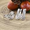 Серебряный набор Ш735 кольцо размер 16.5 + серьги 19х8 мм вставка белые фианиты, фото 3