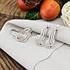 Серебряный набор Ш735 кольцо размер 16.5 + серьги 19х8 мм вставка белые фианиты, фото 5