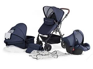 Универсальная детская коляска с автокреслом Kinderkraft Moov 3 в 1 navy