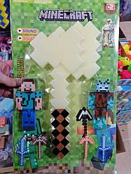 """Игровой набор с оружием и фигурками майнкрафт """"Minecraft"""", алмазный топор JL18334B-3"""