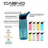 Пляшка для води CASNO 750 мл KXN-1207 Блакитна з соломинкою, фото 9