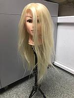 Голова учебная для причесок, плетения, моделирования искусственные термо волосы блондинка, манекен парикмахера
