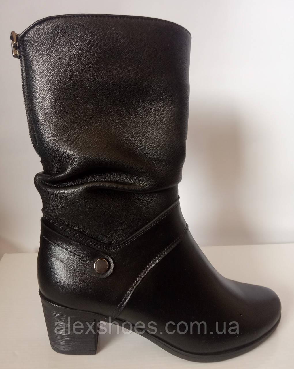 Сапоги женские зима из натуральной кожи на каблуке от производителя модель СВ520