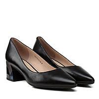 Туфлі-човники жіночі шкіряні чорні на стійкому каблуку Geronea 37