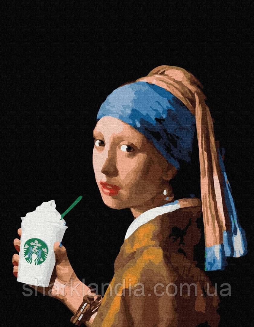Девушка с двойным латте 40*50см Brushme Картина по номерам