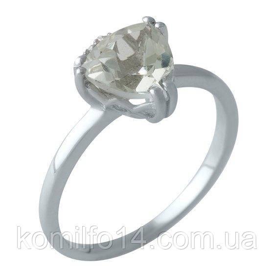 Серебряное кольцо с натуральным зеленым аметистом