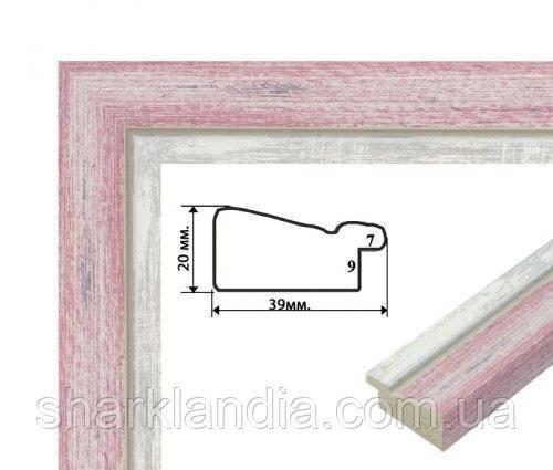 Багетная рамка (розовая посеребренная 4 см)