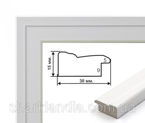 Багетная рамка (белая рельефная 3 см)