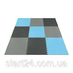 Мат-пазл (ласточкин хвост) 4FIZJO Mat Puzzle EVA 180 x 180 x 1 cм 4FJ0156 Black/Grey/Light Blue