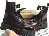 Женские ботинки Dr Martens Jadon в стиле Доктор Мартинс Бордовые НА МЕХУ (Реплика ААА+), фото 2
