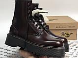 Женские ботинки Dr Martens Jadon в стиле Доктор Мартинс Бордовые НА МЕХУ (Реплика ААА+), фото 4