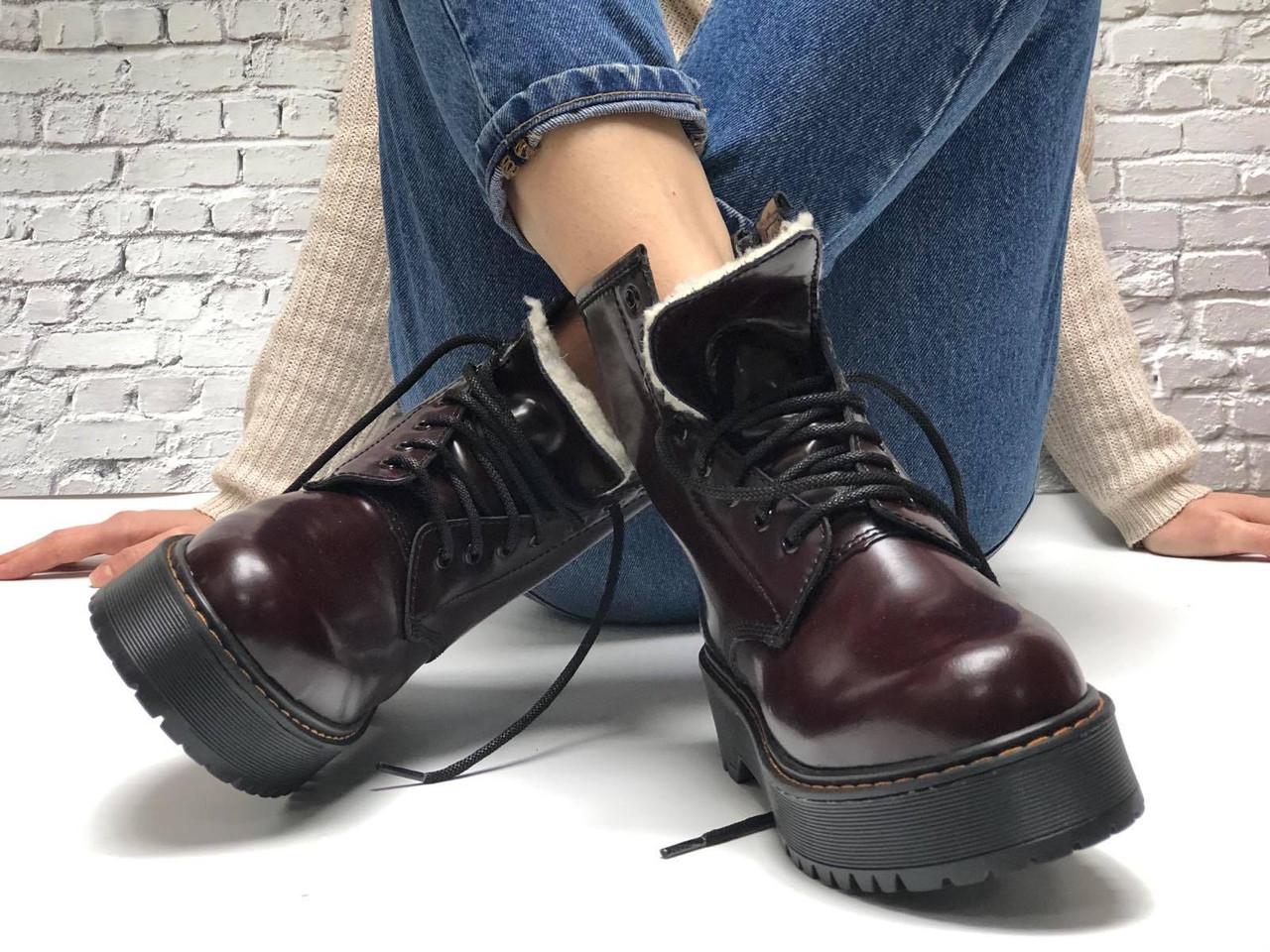 Женские ботинки Dr Martens Jadon в стиле Доктор Мартинс Бордовые НА МЕХУ (Реплика ААА+)