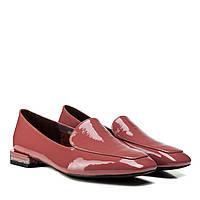 Туфлі жіночі шкіряні лакові рожеві на низькому каблуку 37