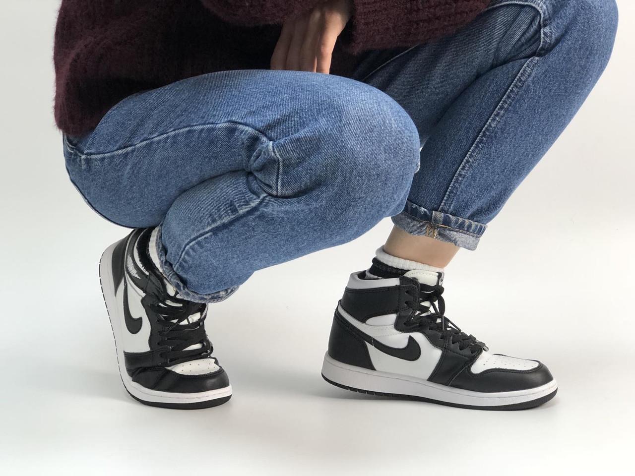Кросівки жіночі Nike Air Jordan в стилі найк джордан Чорні НА ХУТРІ (Репліка ААА+)