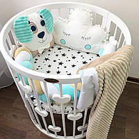 Комплект бортиков в круглую кроватку, бортики для новорожденных и деток