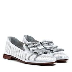 Балетки жіночі шкіряні білі на  товстому низькому каблуку  36
