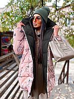 Зимняя двухсторонняя куртка зефирка женская с принтованной стороной (р. 42-46) 66KU526Q