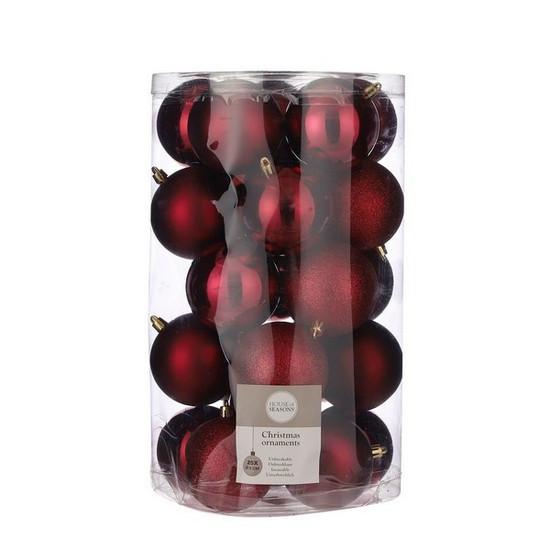 """Елочные шарики 25 шт, 8 см, """"House of Seasons"""" пластик, цвет красный"""