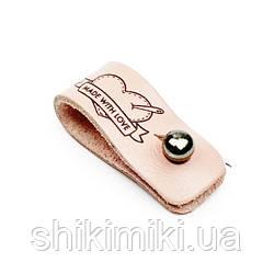 Бирки шкіряні на гвинтах, колір ніжно рожевий