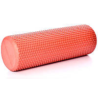 Гладкий массажный валик-роллер для йоги 45*15см MS 3231-1-R красный