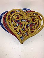 Новогодняя игрушка сердце (снежинка 11см), фото 1