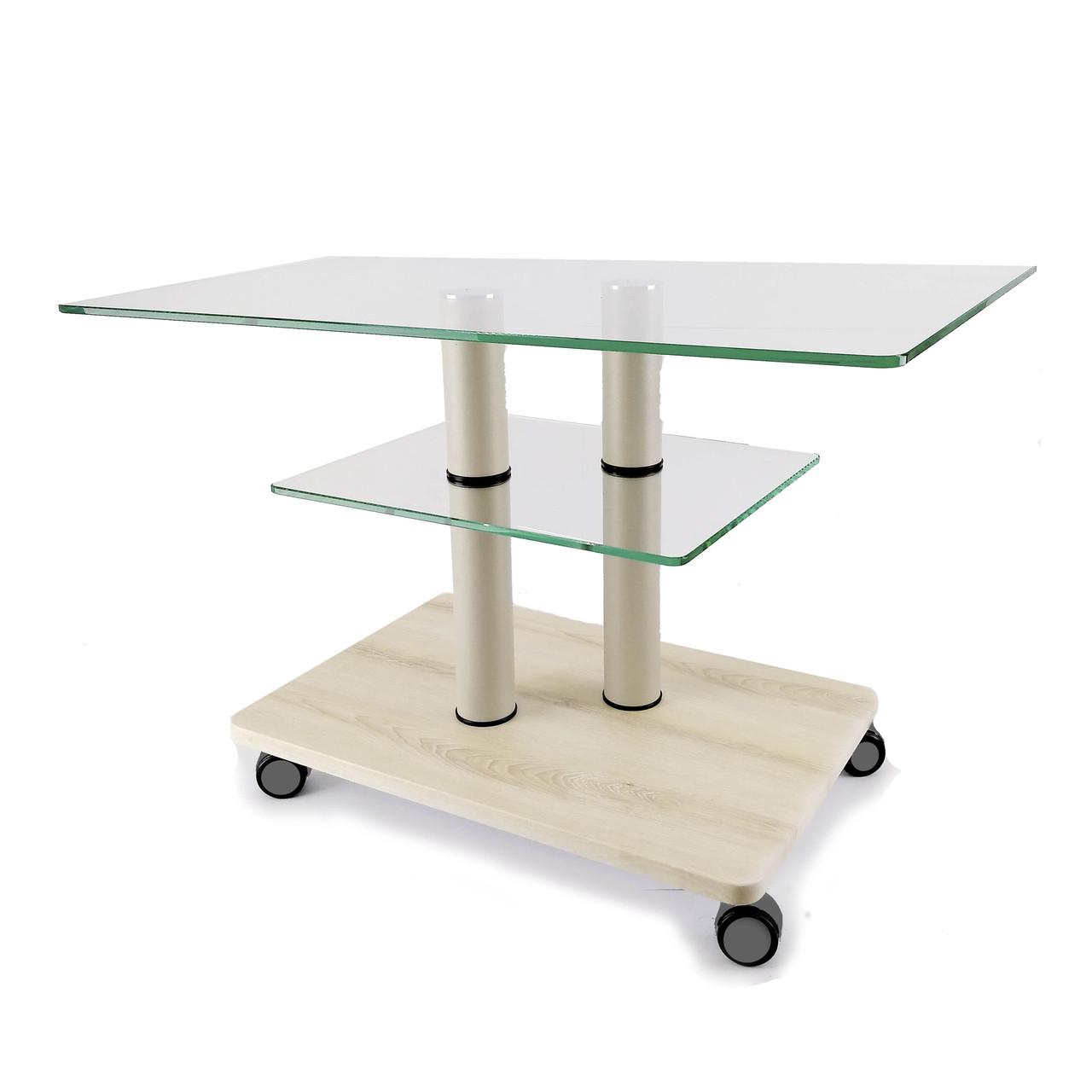Стеклянный журнальный стол прямоугольный Commus Bravo Max P сс-pepel-2bg60