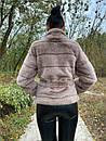 Женский бежевый полушубок с воротником стойкой и с поясом 39sb157, фото 2