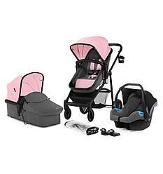 Многофункциональная стильная детская коляска Kinderkraft 3 в 1 Juli pink
