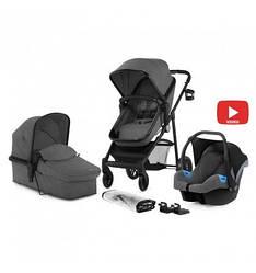 Многофункциональная стильная детская коляска Kinderkraft 3 в 1 Juli grey