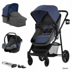 Многофункциональная стильная детская коляска Kinderkraft 3 в 1 Juli denim