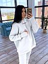 Спортивний жіночий костюм утеплений флісом з вільним худі і вшитими мітенками (р. S-L) 66ѕо1171Е, фото 3