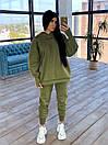 Спортивний жіночий костюм утеплений флісом з вільним худі і вшитими мітенками (р. S-L) 66ѕо1171Е, фото 6