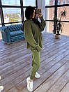Спортивний жіночий костюм утеплений флісом з вільним худі і вшитими мітенками (р. S-L) 66ѕо1171Е, фото 7
