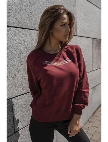 Женский свитшот Staff bordo logo весна/осень бордовый XS, фото 2