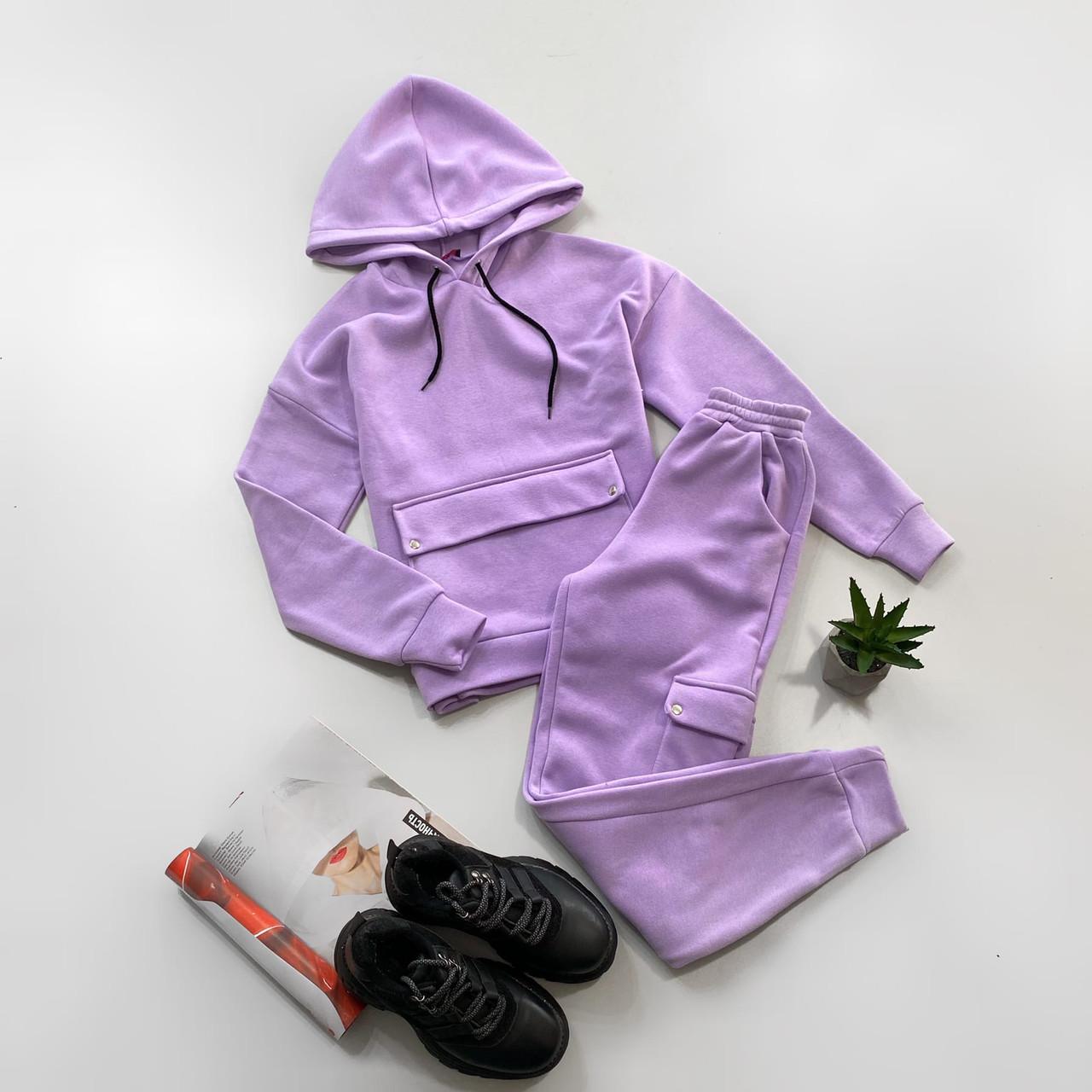 Жіночий спортивний костюм на флісі з худі і накладними кишенями (р. S, M) 66ѕо1172Е