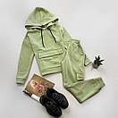 Жіночий спортивний костюм на флісі з худі і накладними кишенями (р. S, M) 66ѕо1172Е, фото 3