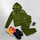 Жіночий спортивний костюм на флісі з худі і накладними кишенями (р. S, M) 66ѕо1172Е, фото 5