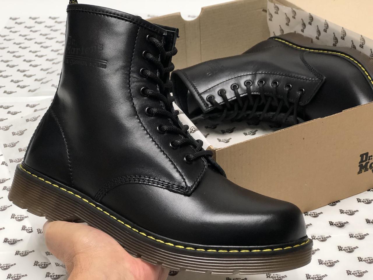 Демисезонные мужские ботинки dr.martens black. ТОП Реплика ААА класса.