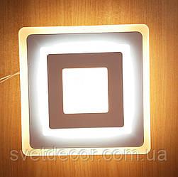 Настенный потолочный LED светильник 12W 1001А бра квадратный