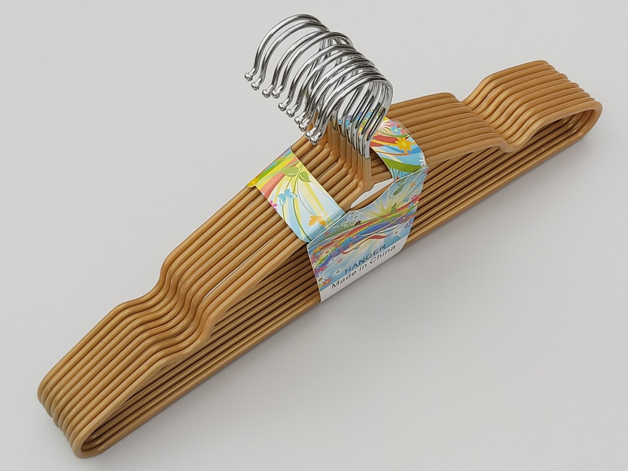Плечики металлические в силиконовом покрытии золотого цвета, 40 см,10 штук в упаковке